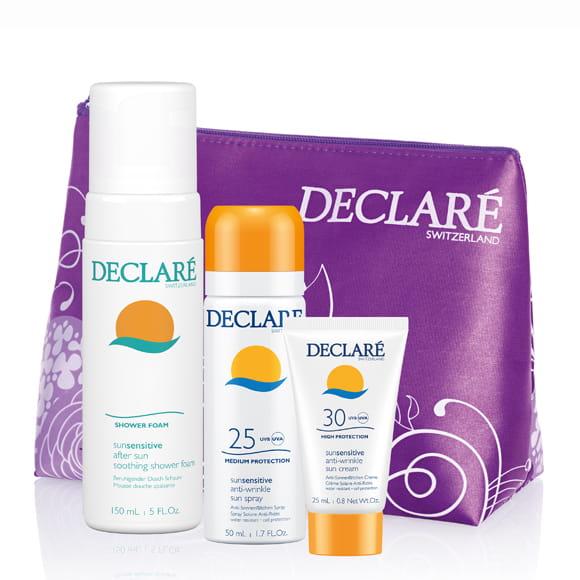 DECLARE Pakiet SUN w kosmetyczce, SUN Przeciwzmarszczkowy krem SPF 30, SUN Przeciwzmarszczkowy Spray do ciała SPF 25, SUN Pianka pod prysznic po opalaniu